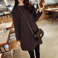 2014 autumn and winter plus size clothing elegant dot long-sleeve loose hip slim one-piece dress
