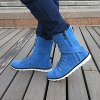 Free Shipping Autumn And Winter Fashion Male Boots Denim Boots Trend Medium-Leg Shoes British Style High-Leg Shoes Martin Boots