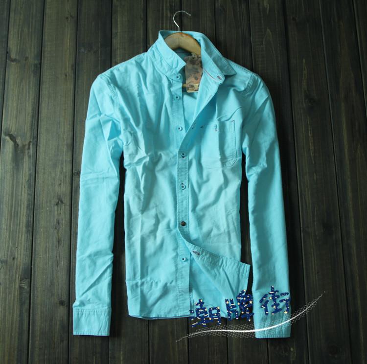 Oxford silk cloth scotch soda shirt retro finishing wearing white 100% all-match cotton long-sleeve slim shirt male(China (Mainland))