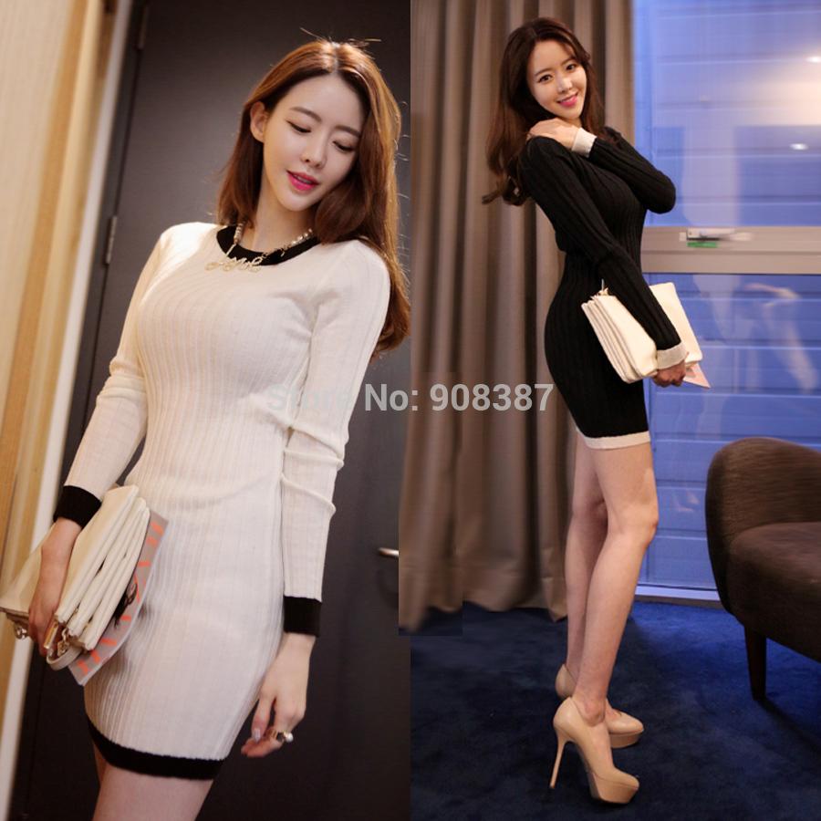 2014 100% Cotton Women Autumn and winter Long-sleeve slim hip dress slim basic knitted one-piece dress Feman 863(China (Mainland))