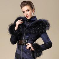 Peacock dynasty fashion large fur collar women's high quality luxury slim down coat medium-long female