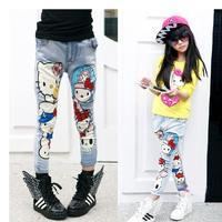 Girls clothing 2014 autumn cartoon jeans skinny pants pencil pants trousers