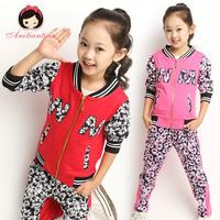 Children's clothing female child autumn 2014 child spring and autumn sports set child autumn