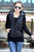 2014 autumn and winter women's vest outerwear fashionable casual with a hood down cotton vest cotton vest