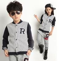 2014 children's clothing autumn stripe baseball uniform male female child set child set