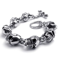 A22173  Fashion titanium skull bracelet male style personality thick bracelet long 225mm
