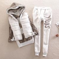 Brand New 2014 autumn and winter casual set thickening sweatshirt fashion patchwork leopard print women's piece set plus size