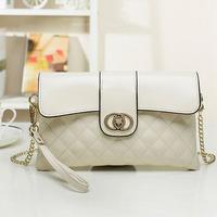 Fashion women's genuine leather day clutch chain small bags white cross-body handbags plaid fashion clutch bag