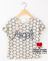 Popular preppy style sweet three-dimensional flower small letter loose short design short-sleeve T-shirt