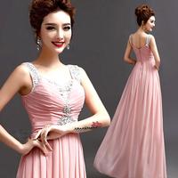 2014 BEST THE ANGEL ,new arrival Sexy V-neck diamond pink evening dress long design evening dress A1959#
