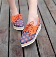 Spring vintage british style pointed toe single platform dot patchwork tassel women's shoes