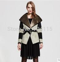 Large lapel fashion chamois compound wool outerwear short design women's faux
