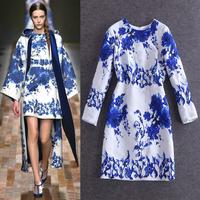 Free shipping! 2014 autumn women's fashion blue and white porcelain print jacquard cotton long-sleeve dress