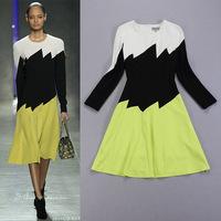 Free shipping! European Autumn new arrival 2014 women's fashion color block slim basic long-sleeve dress