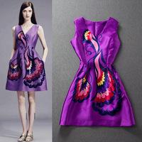 2014 women's purple print patchwork elegant vintage elegant one-piece dress a-line skirt