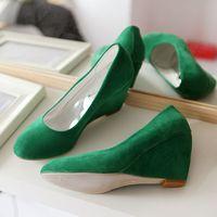 Brand sexy Fashion Women's Genuine Platform Wedges High Heels Ladies Buckle Shoes Black free shipping