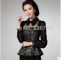 new 2014 autumn elegant women embroidery lace blouse top long sleeve ruffles sequined slim sheer blouse shirt blusas femininas