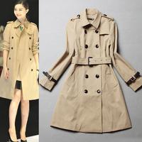 2014 Fashion High quality classic double-breasted long coat Khaki