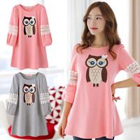 Maternity clothing autumn one-piece Dress 2014 loose medium-long autumn top plus size