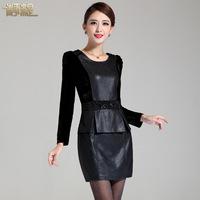 2014 autumn basic slim one-piece dress faux two piece fashion solid color PU female 0073