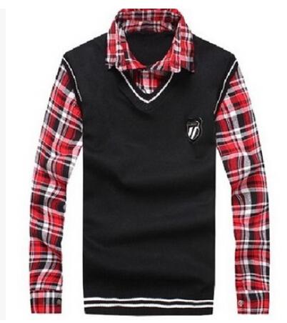 2014 autumn new men's knit sweater Plaid shirt + v-neck sweater False two pullovers men jacket male coat(China (Mainland))