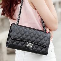 2014 Fashion women handbag  leather handbags  women chains bags cc bag plaid chain shoulder bag messenger bag handbag