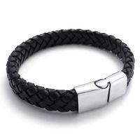 A21554 New arrived cowhide black titanium bracelet genuine leather bracelet chain ultra wide strap men and women`s bracelet
