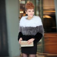 2014 New Fashion Nature Fur Coat Women Waistcoat Knitted Color Block Ostrich Wool Fur Winter Jacket 4782 p280