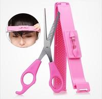 2 Pcs/set ( Hair clip + Scissor ) DIY bangs hair styling tool kit scissors /Hair Trimmer Hair Styling Tools