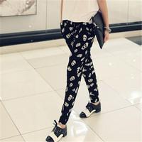 Plus size black harem pants female loose print chiffon casual harem pants female trousers free shipping