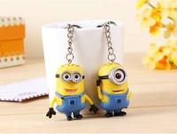 Free Shipping Cartoon Key Chain Despicable Me 3D Eye Small Minions Figure Kid toy Key Chain 2Pcs/Lot