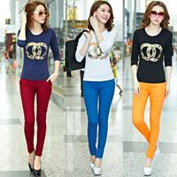 Free shipping 2014 Plus size clothing slim t shirt cotton long-sleeve round neck T-shirt female