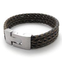 A21539-40 fashion coarse cowhide rope bracelet titanium bracelet male and women's 1.8cm style bracelet