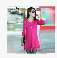 2014 women's spring and autumn one-piece dress women's medium-long sweater dress basic wool dress Cultivate one's morality dress