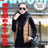 2014 autumn and winter zipper women's with a hood down vest fashion cotton vest outerwear vest female
