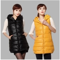 New 2014 Hot sell Autumn winter plus size thick hood wadded women's down Vest medium-long slim warm vest waistcoat Free Shipping
