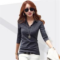 2014 Autumn Women's V-neck Basic Shirt Slim Shirt Collar Top Cotton Long-sleeve T-shirt Female