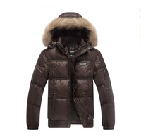 Free Shipping 2014 Winter Men's Cotton-padded Jacket Stand Collar With A Hood Thickening  Male Casual Jacket Plus Size