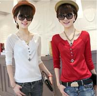 Autumn wWomen's V-neck Chiffon Shirt Long-sleeve Lace Basic shirt Plus Size T-shirt
