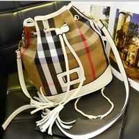 2014 Star cowhide  plaid canvas genuine leather bucket bag one shoulder cross-body women's handbag elegant all-match
