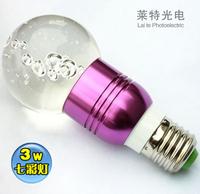 E27 3w rgb led lighting transparent crystal lamp colorful lights color light remote control lamp candle lamp led energy saving