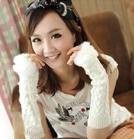 2014 winter warm lovely lady imitation rabbit hair knitted fur half finger gloves fingerless wool gloves touchscreen