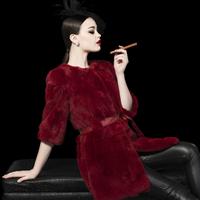 2014 New Winter Rex Rabbit Hair fur Overcoat Female medium-long o-neck slim Fur Coat