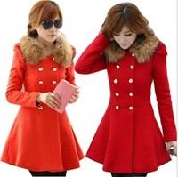 Casacos Femininos 2014  Long Sleeve Slim Woollen Coat Double Breasted Winter Women Coats Female raccoon fur collar