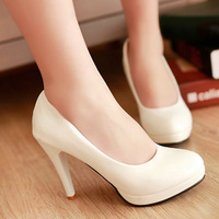 Spring and autumn shallow mouth shoes white high-heeled shoes female shoes sexy platform thin heels women's shoes japanned