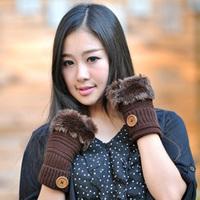 2014 new design lady winter wool half finger gloves tide lovely warm fur fashion student keyboard buttons gloves