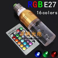 Rgb 16 led crystal lamp pillar lamp remote control color light bulb e273w energy saving lamp colorful lights