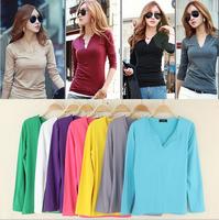 2014 autumn deep V-neck women's basic shirt candy color t-shirt solid color long-sleeve T-shirt elastic milk silk t-shirt