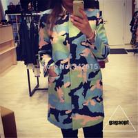 2014 Gagaopt personalized fashion outerwear O-neck single breasted camouflage woman blazers elegant fashion OL formal jackets