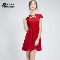 vestidos casual free shipping 2014 autumn women's fashion autumn medium-long red a-line skirt one-piece dress bandage dress